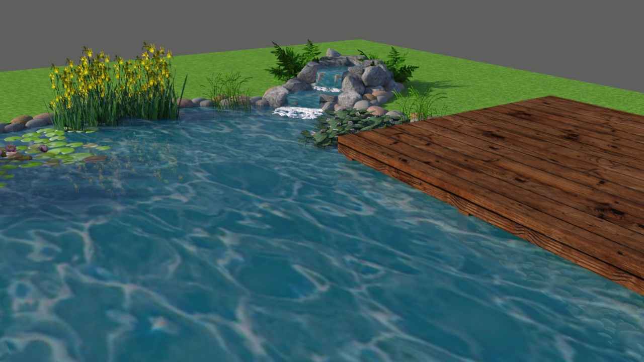 3D coloured computer design of swim pond, close up view pf the decking and waterfall made out of boulders and pebbles