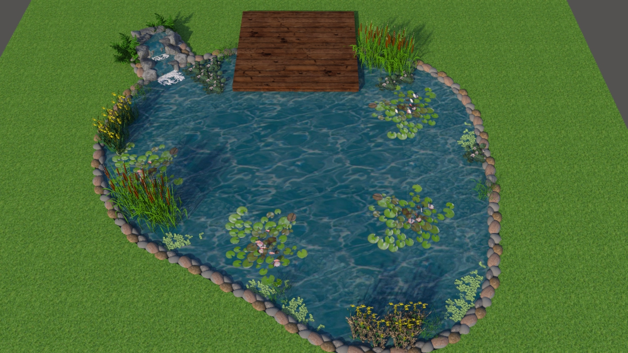 3D coloured computer design of swim pond, aerial view