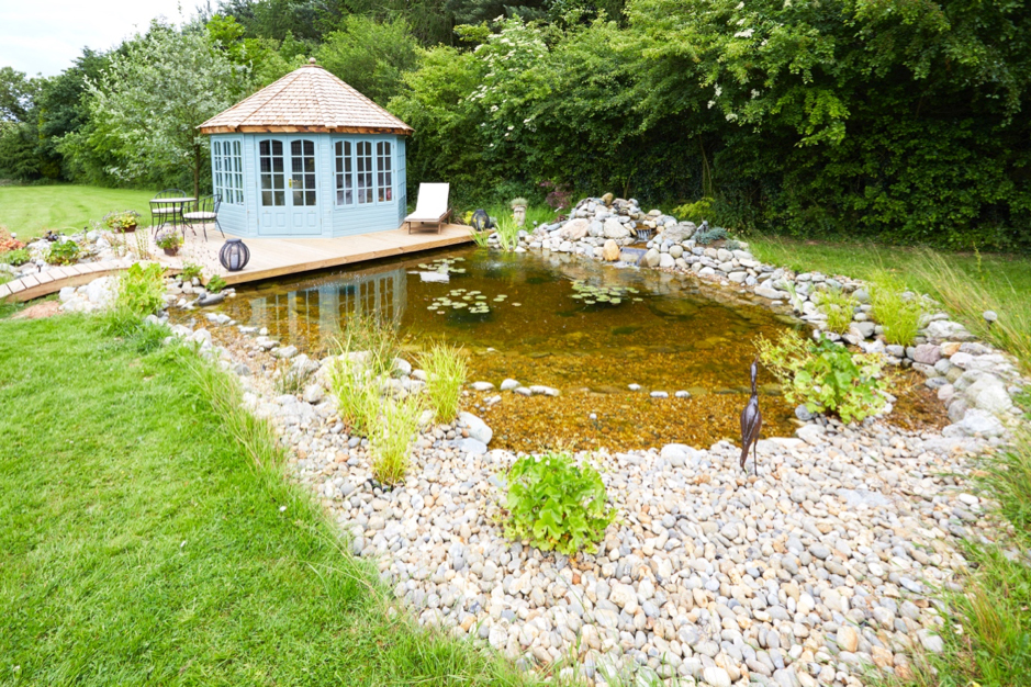 Hybrid natural swimming pool and natural pond