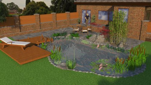 3D render of a natural swimming pond with summer house