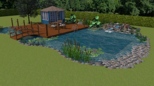 CAD 3D render of a natural swimming pond with summer house